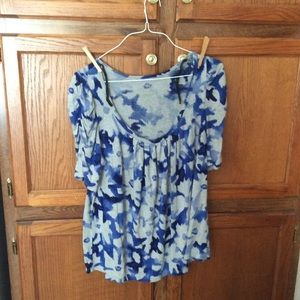 Lane Bryant women's blouse blue & white floral +